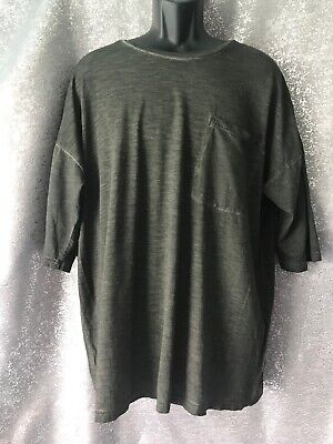NWT ZARA Man Dark charcoal Crew Neck T-shirt With Front Chest Pocket size XL A9