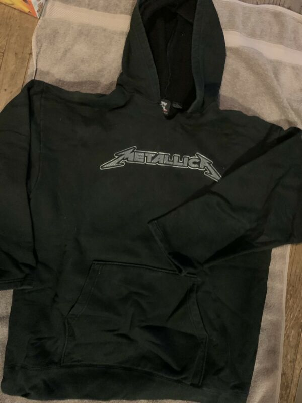 METALLICA VINTAGE BAND HOODIE SWEATSHIRT XL BLACK PULLOVER JAMES HETFIELD LARS
