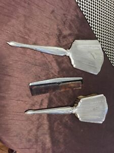 Large STERLING SILVER. vanity set mirror , brush, comb