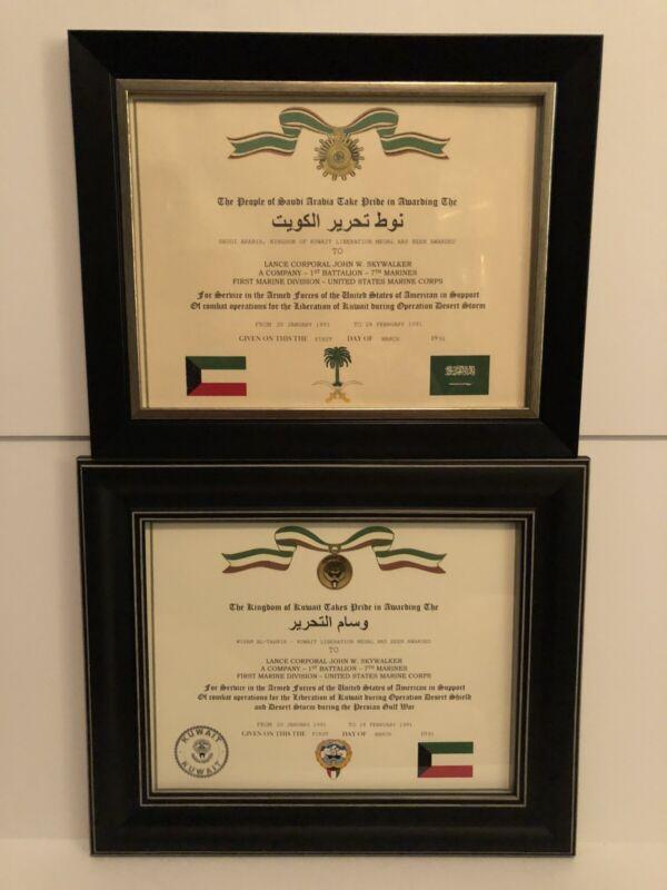 2 Certificate Set ~ SAUDI ARABIA & KUWAIT LIBERATION MEDAL CERTIFICATES