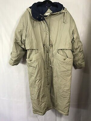 Vintage Mulberry Street Womens Size Petite M Beige Trench Down Puffer Full Coat