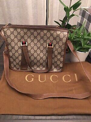 Authentic Vintage GUCCI Brown Monogram GG purse BAG Striped Cross Body