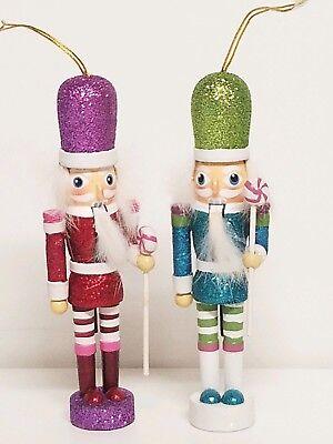 Pair Hollywood Nutcracker Christmas Ornaments Lollipop Purple Red Green Blue  - Hollywood Christmas Ornaments