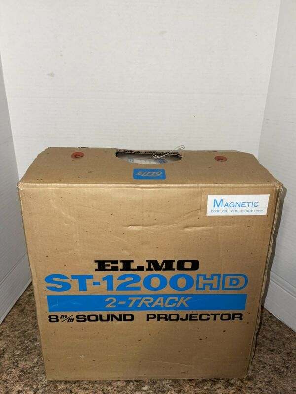Vintage ELMO ST 1200 HD 8MM SOUND MAGNETIC PROJECTOR AND ORIGINAL BOX / RECEIPT