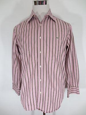 Camisa Lacoste 40 M Manga Larga Rayas Rosa / U1, usado segunda mano  Embacar hacia Spain