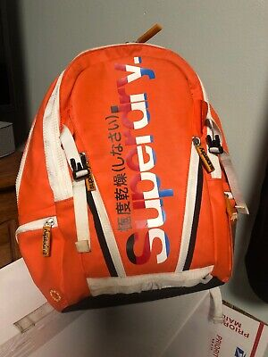 SUPERDRY TARPAULIN TARP POP ZIP BACKPACK ORANGE LAPTOP BAG