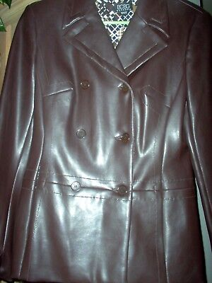 BCBG Maxazria Brown Faux Leather Jacket-Size 6-Lined