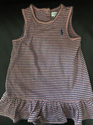 Ralph Lauren Striped Knit Dress One Piece Baby Girl 9 Months