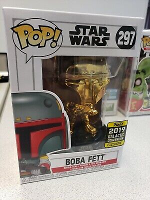 Funko Pop Star Wars Gold Chrome Boba Fett 297 2019 Galactic Convention Exclusive