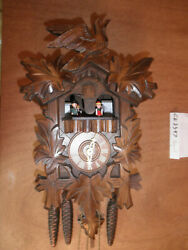 Cuckoo Clock NIGHT SHUT OFF German SEE VIDEO Hand Carved Musical 1 Day CK2347