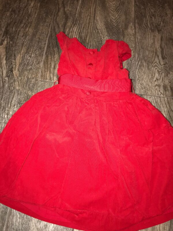 Polo Ralph Lauren Girls Dress Size 6x Red Cap Sleeve Fit & Flare Corduroy Cotton