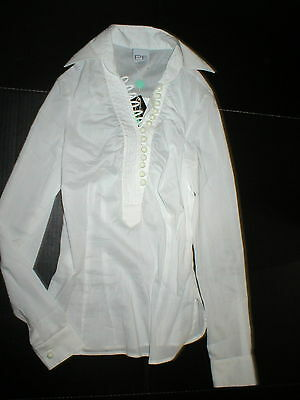 New Womens NWT Designer PF Paola Frani Top Blouse 6 White Italy 42 Work Buttons