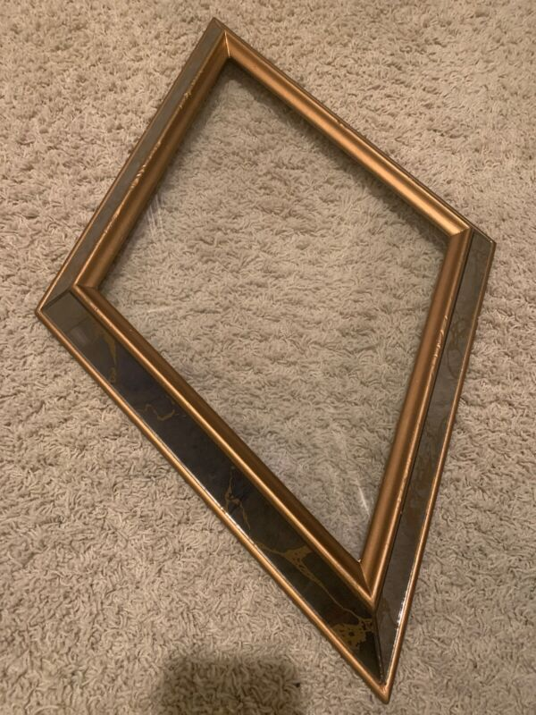 Vtg Mid Century Diamond Shaped Picture Frame W/ Glass