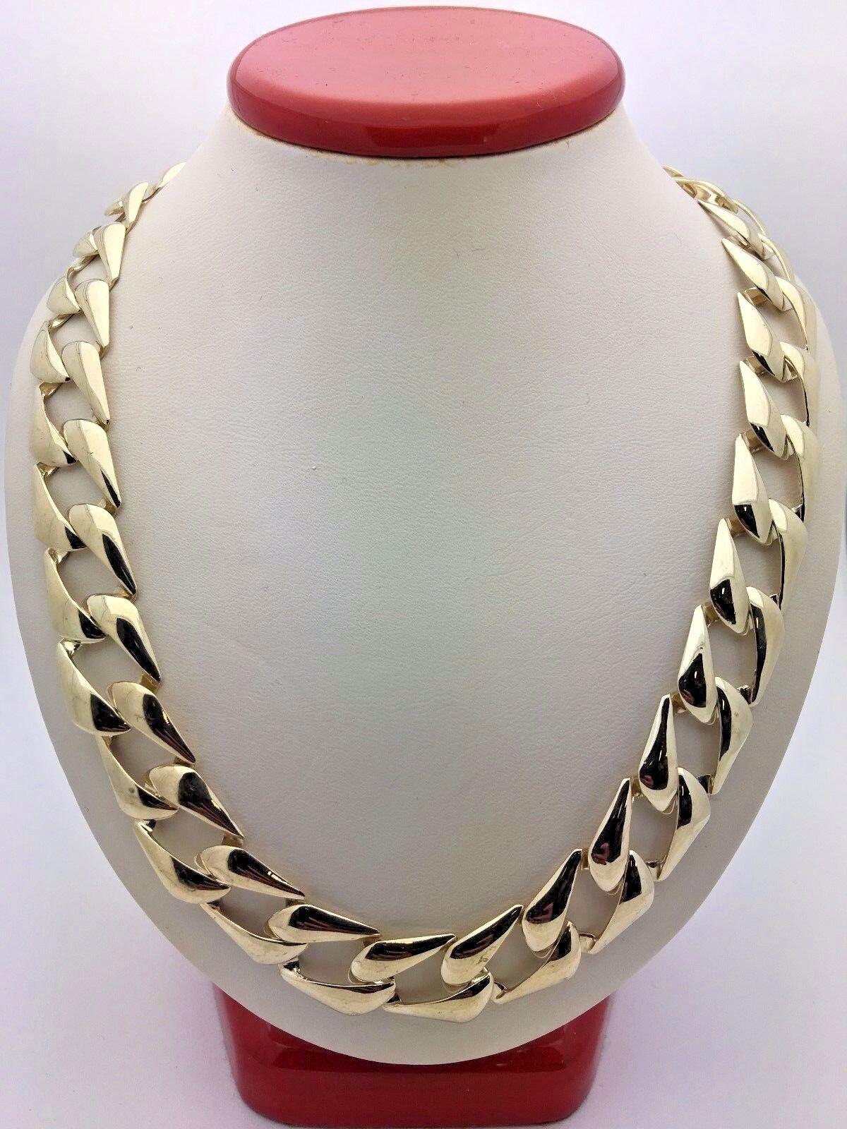 49da28f9c Men's 10K Yellow Gold Cuban Link Chain Necklace Light Weight 24.5