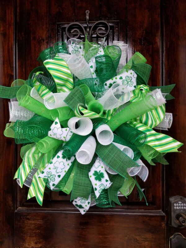 XL Fluffy, Green & White Deco Mesh Spiral St. Patrick