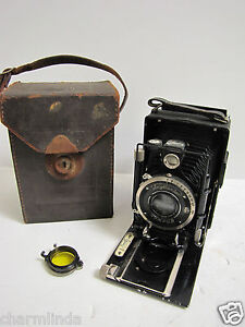 Vintage Voigtlander Avus Folding Plate Bellows Camera +Roll Film Holder Back