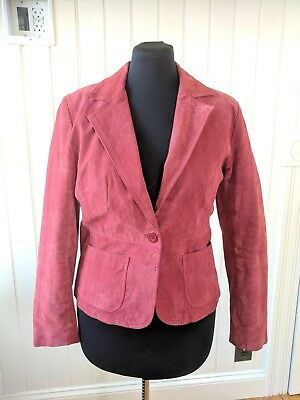 New York company women 100% Suede Blazer Jacket Pink Size 12 fitted pockets EUC  (Fitted Suede Blazer)