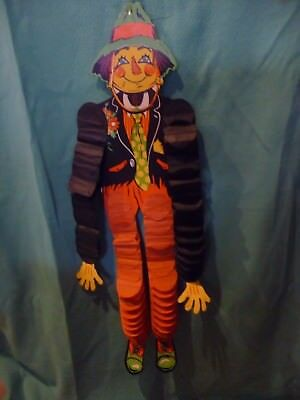 Vintage Beistle Halloween Fall Die Cut Scare Crow with Crepe Arms & Legs