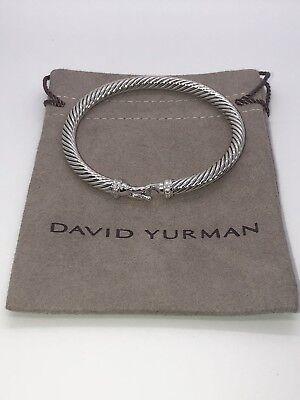 David Yurman Cable Buckle Bracelet with Diamonds 5mm Sz Medium Authentic