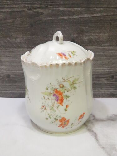 KPM Germany  Hand Painted  Biscuit Cracker Covered Jar