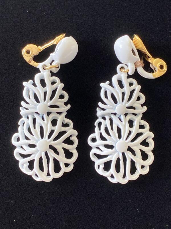 Vintage Signed Monet White Enamel Dangle Clip On Earrings