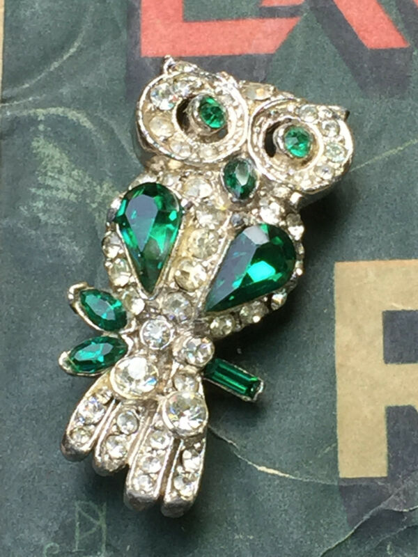 Vintage Rhinestone Owl Pin