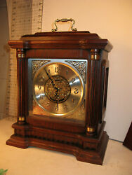 Seiko Oak & Brass Square Carriage Mantle Clock with Handle & Gold Accents