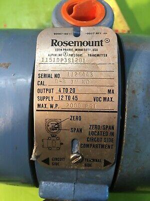 Rosemount Pressure Transmitter - Smart 1151 Differential Zero To 8 Wc
