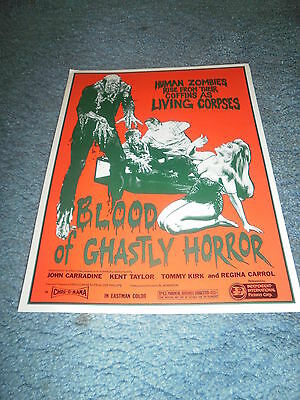 BLOOD OF GHASTLY HORROR(1972)JOHN CARADINE LOT OF 10 ORIG PRESSBOOKS+