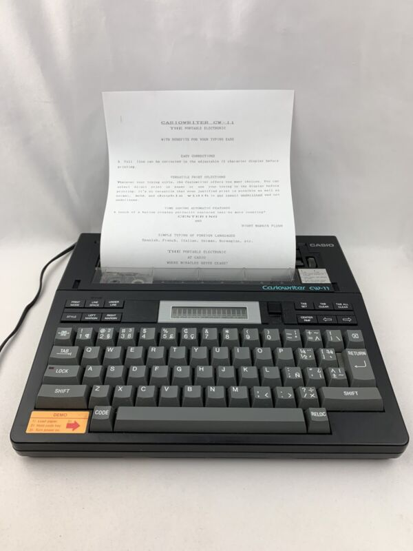 Casio Casiowriter CW-11 Personal Electronic Typewriter Word Processor TESTED