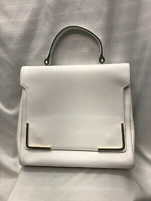 INNUE Handbag White Genuine Leather Made in Italy Flap-Over NEW WITH DEFECT