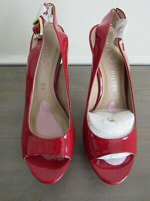 Paris Hilton RED PATENT Leather Sling Back Peep Toe High Heels / Pumps Sz 8.5 - Paris Slingback