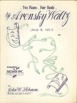 Arensky Waltz Op 15 No 2 Sheet Music Piano Duet 4 Hands 1950 Schaum 15 Sheet Duo