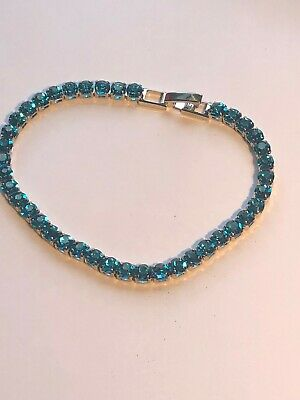 Blue Topaz Tennis Bracelet 10ct. 18k Perfect White Gold Finish