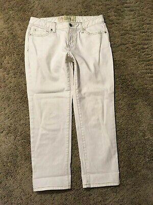 Cropped Jeans Spandex (ANN TAYLOR LOFT CURVY CROPPED JEANS size 4 Denim Cotton/Spandex Winter White C99)