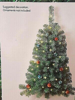 NIB Christmas Xmas Wall Hanging Wall Mount Lighted Tree 3'