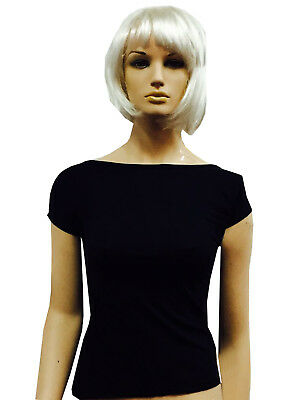 Women Slash Neck Black Viscose T-Shirt Waist length Halloween Party Fancy Dress (Halloween Slashed Neck)