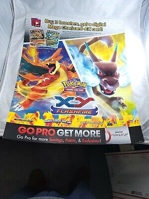 "Gamestop Pokemon Card Game XY Flashfire Store Display Charizard 28"" x 22"""