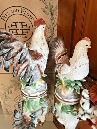 Fitz & Floyd Beautiful Rooster and Hen Pair Set  Figurines NIB Glossy Porcelain