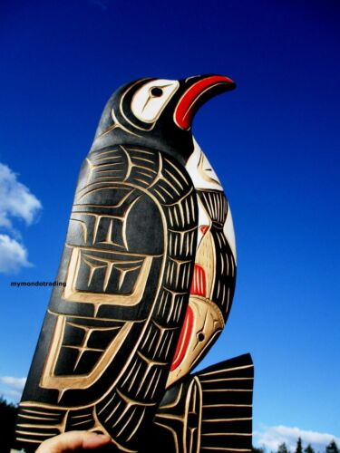 Northwest First Nations native cedar Art carved large PENGUIN, very high quality