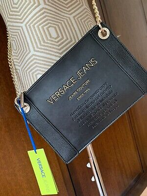 Versace Jeans Bag Crossbody Gold Chain New with Tags Black