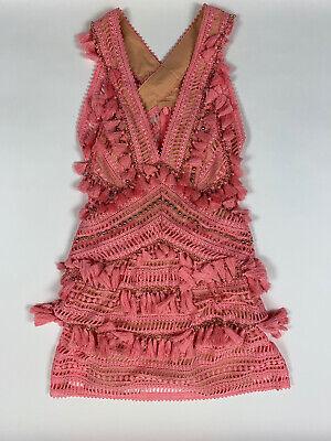 Thurley Womens Flamingo Crochet Lace Tassel Trim Party Cocktail Dress Sz 6 $649