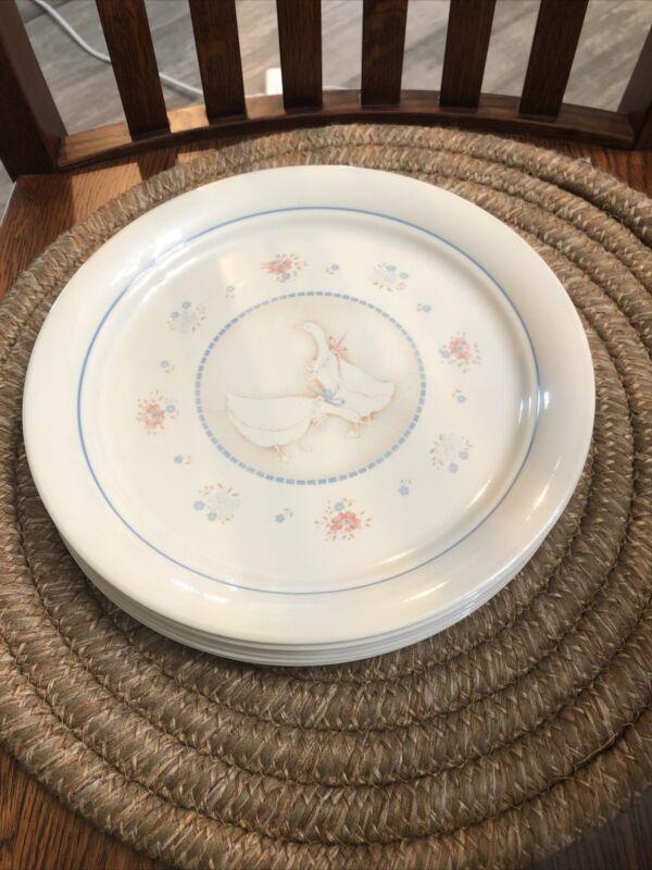 "7 Corning Corelli  10 1/4"" Country Promenade Geese Dinner Plates"