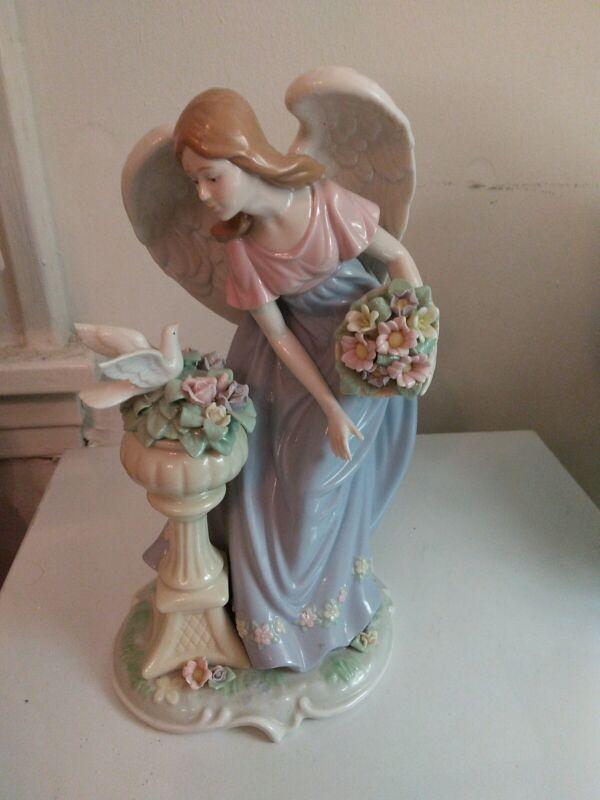 lladro figurine Rare Angel Listening The Bird Sing Large 12