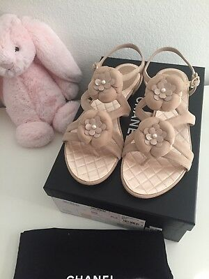 New Auth Chanel Beige Suede Leather Sandals Camellia Flower w/ Pearl Size 38
