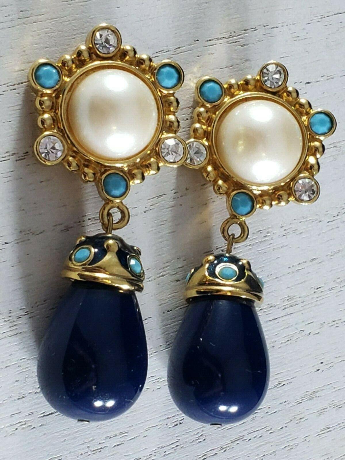 Vintage Jose Barrera For Avon Gold Tone Rhinestone Faux Pearl Dangle Earrings - $99.99