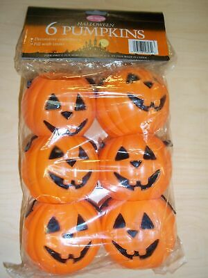 Halloween Candy Baskets (6 Vintage Fun World  Halloween Pumpkin Candy Baskets -)