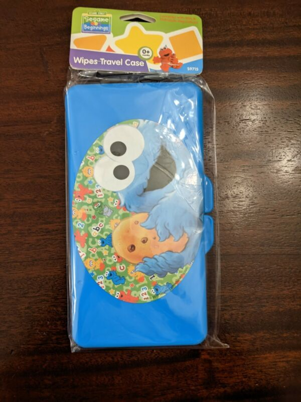 NEW Sesame Street Beginnings Cookie Monster Blue Plastic Wipes Travel Case