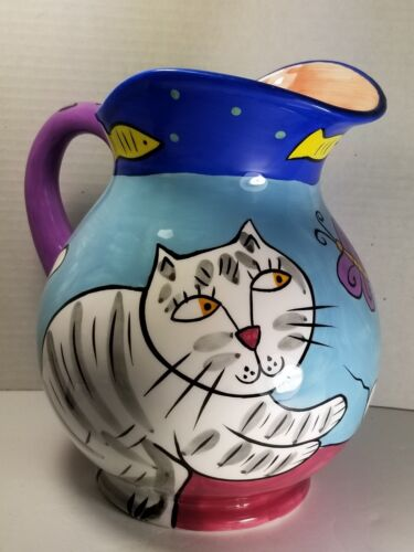 RARE VTG 2000 Chaleur/Karen Gelff/Happy Dog & Cat Pitcher, Excellent Condition