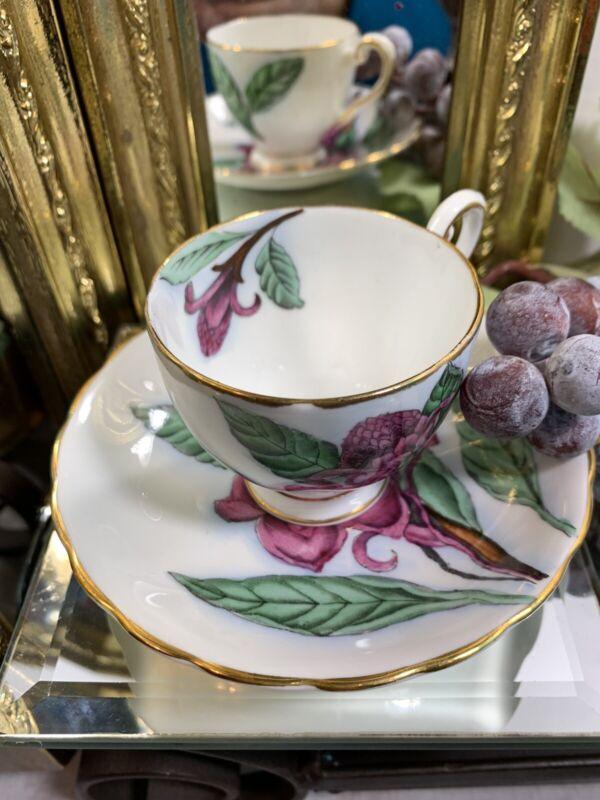 Tuscan English fine bone china demitasse cup saucer Torch Ginger purple flowers